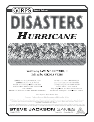 GURPS Disasters: Hurricane gamebook cover